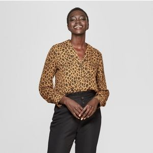 Who What Wear Leopard Button-up Blouse